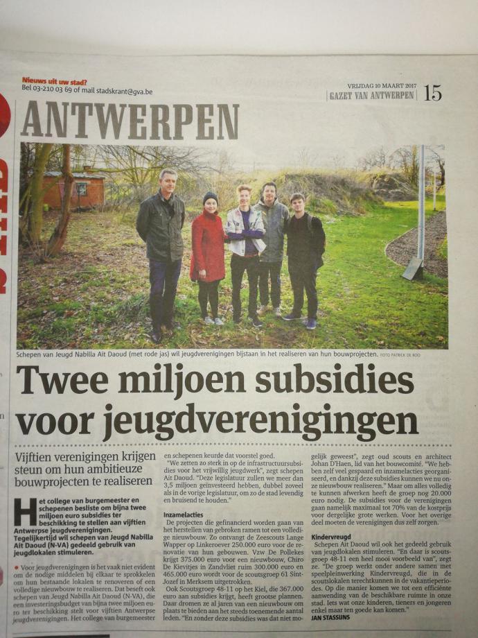 Kranten artikel bouw project (GVA - 10 maart 2017)